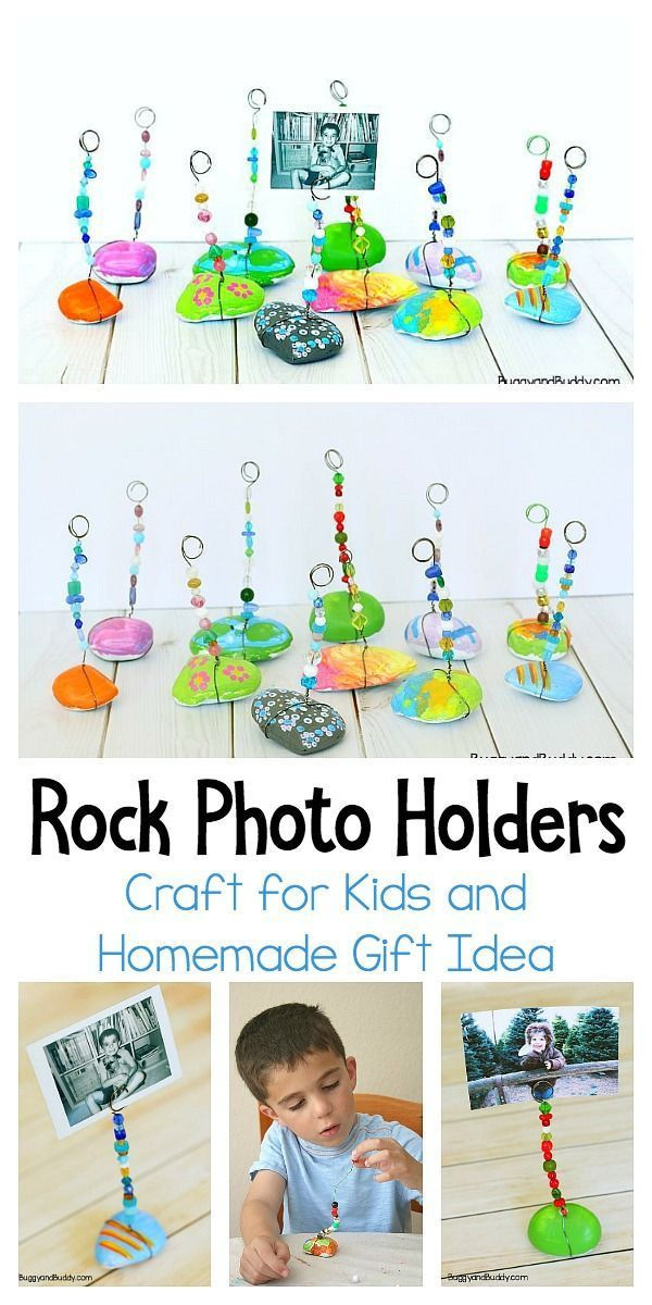 Painted Rock Photo Holder Craft for Kids - Buggy and Buddy