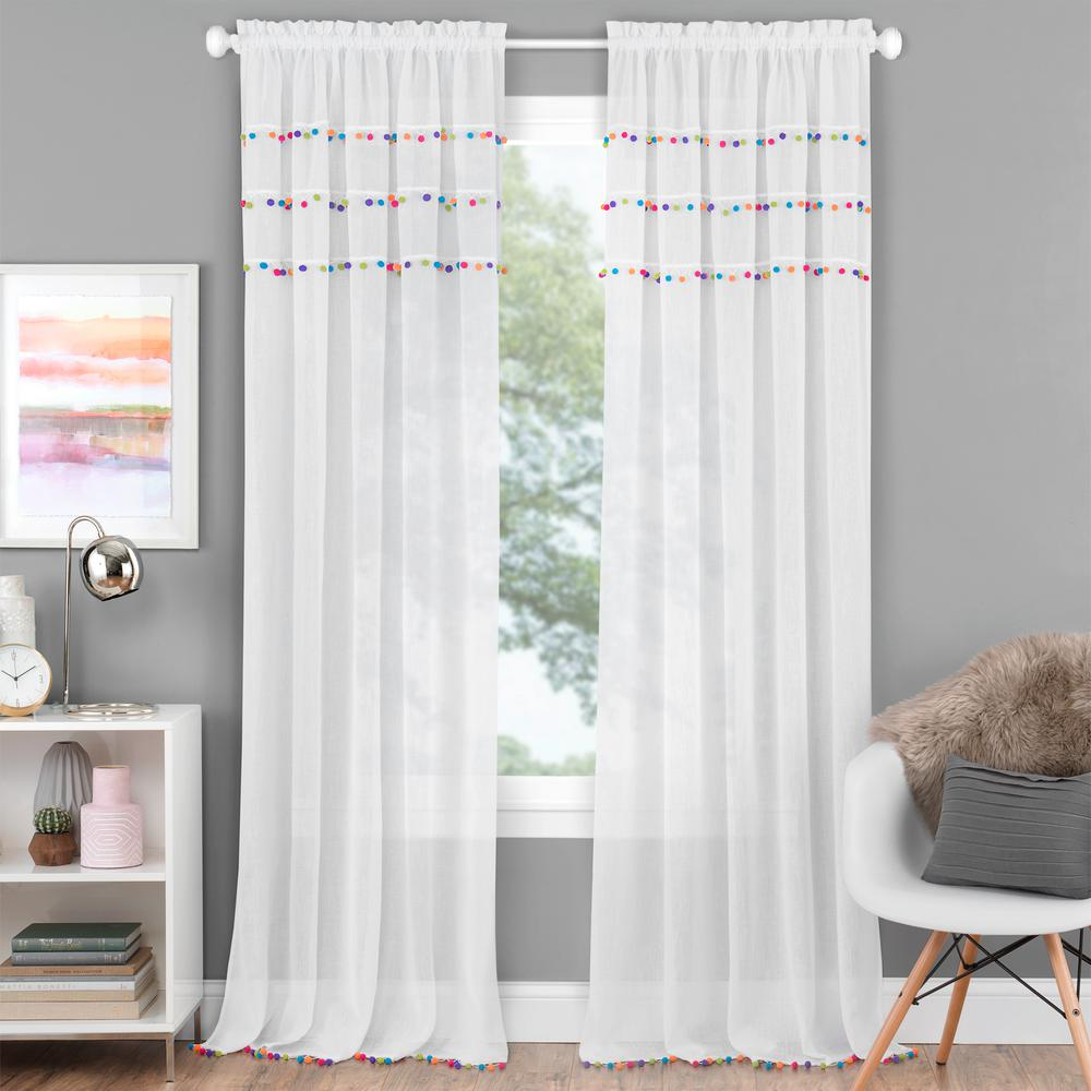 pom pom curtains rod pocket curtains