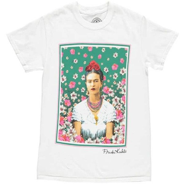 c8ab173ee382 Forever21 Frida Kahlo Graphic Tee ($18) ❤ liked on Polyvore featuring tops,  t-shirts, graphic design t shirts, short sleeve t shirt, white short sleeve  t ...
