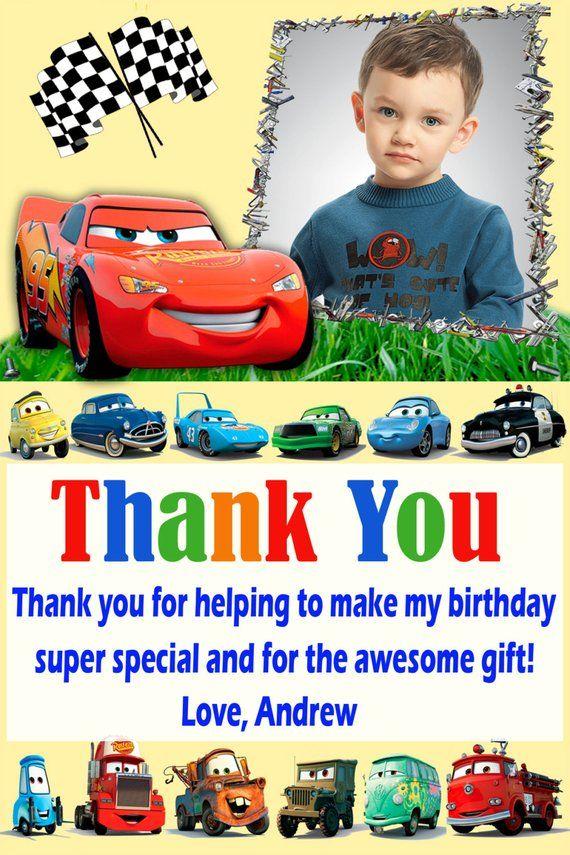 Disney Cars Thank You Card Disney Cars Birthday Card Cars Thank