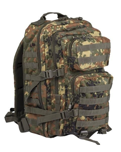 7f5b423296 U.S. Assault Backpack Flecktarn Camo Large with several pockets and  expandability. Sharp looking pack perfect for camping, travel, hiking and  much more