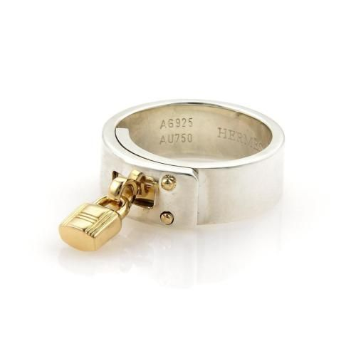 Hermes-Kelly-18k-Gold-Sterling-Silver-Band-Ring-Size-53-5-5