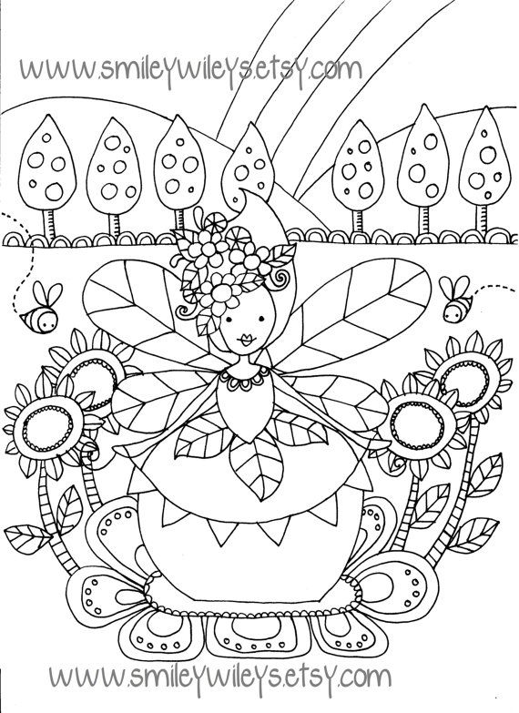 Fairy Happy Printable Colouring Book Pages Set Of 5 Printable Coloring Book Coloring Books Printable Coloring