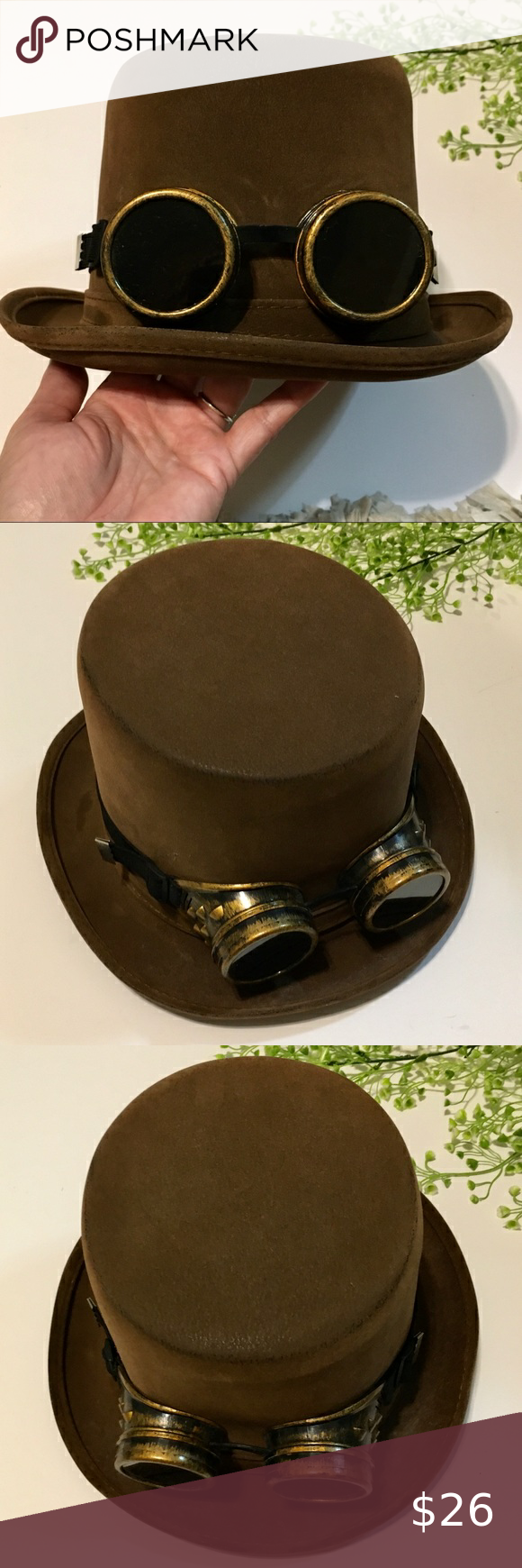 Steampunk Top Hat With Goggles Steampunk Top Hat Top Hat Steampunk Goggles