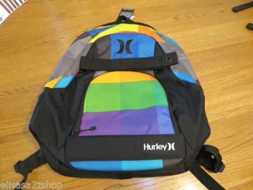 Men's boy's Hurley book bag back pack backpack surf skate black NEW skateboard