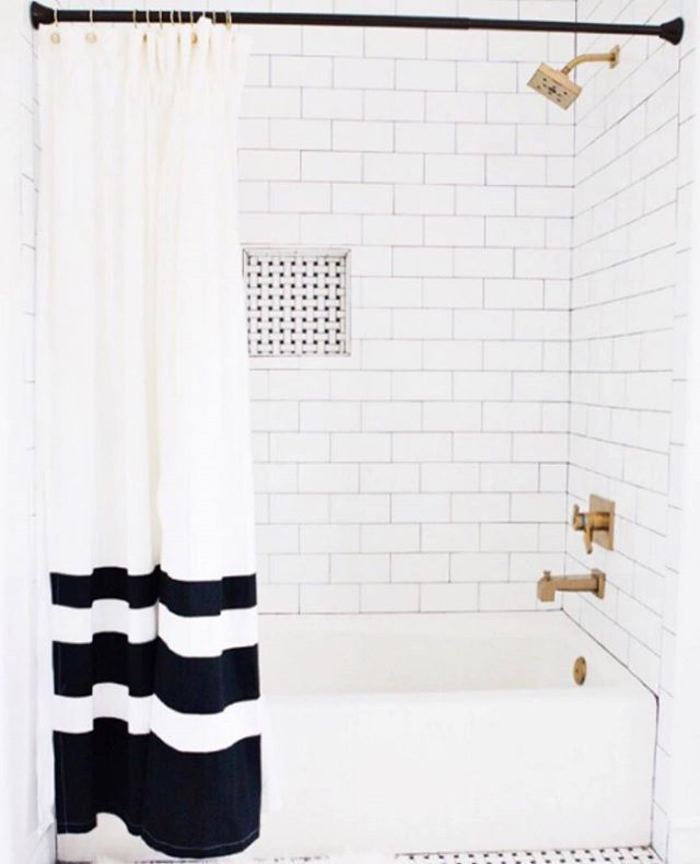 "Style Me Pretty Living on Instagram: ""Black and white (and brass!) bathroom perfection spotted on @ccandmikecreative"