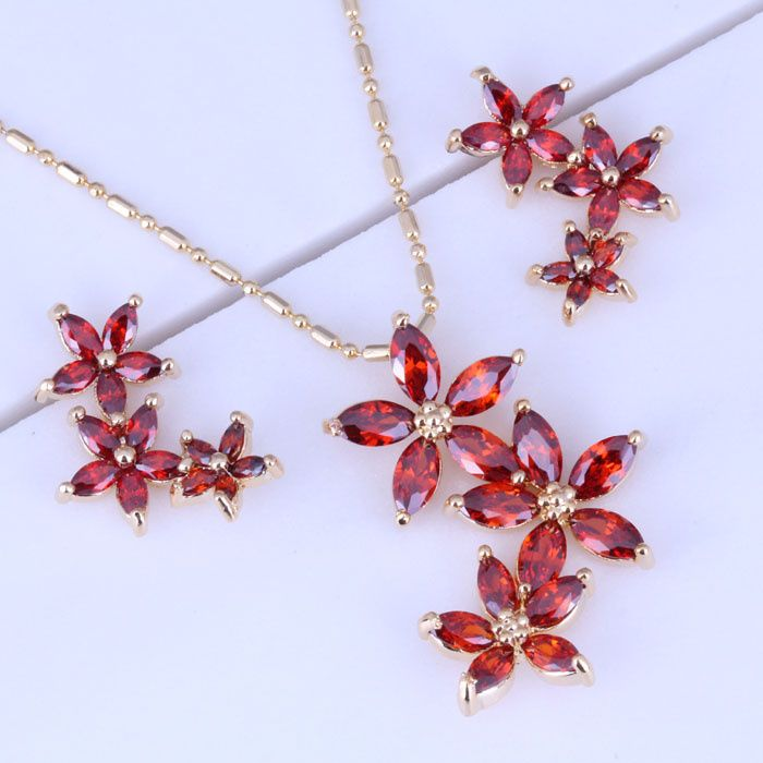 Burning Red Imitation Garnet Flower Cluster Yellow Gold Color Necklace/Pendant/Stud Earrings Jewelry Sets for Women X0177 #Affiliate