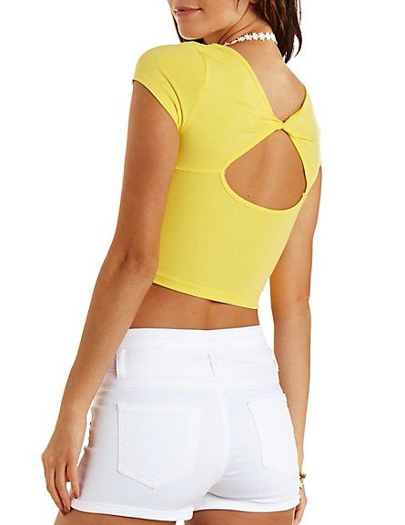 Twisted Cut-Out Back Crop Top