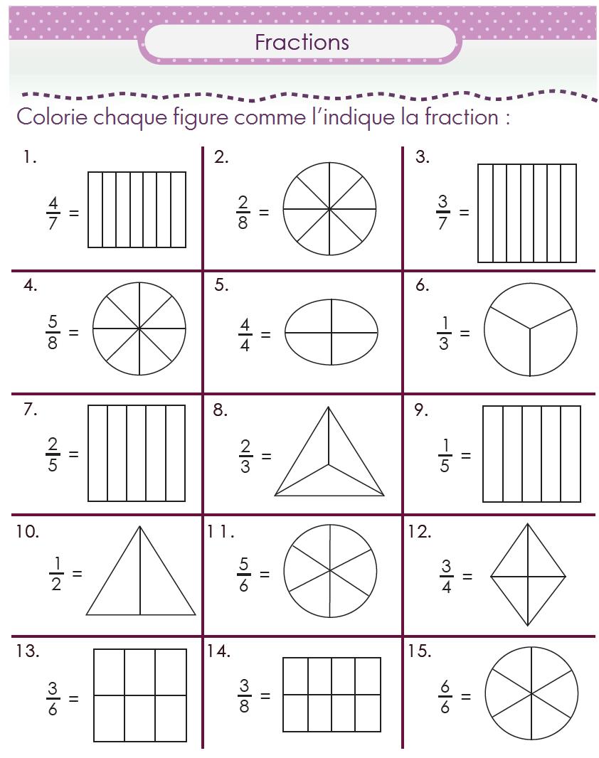 D couvrir les fractions en cm1 un pack de fiches math for Table multiplication cm1