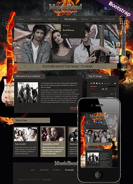 music band website template bootstrap design responsive html