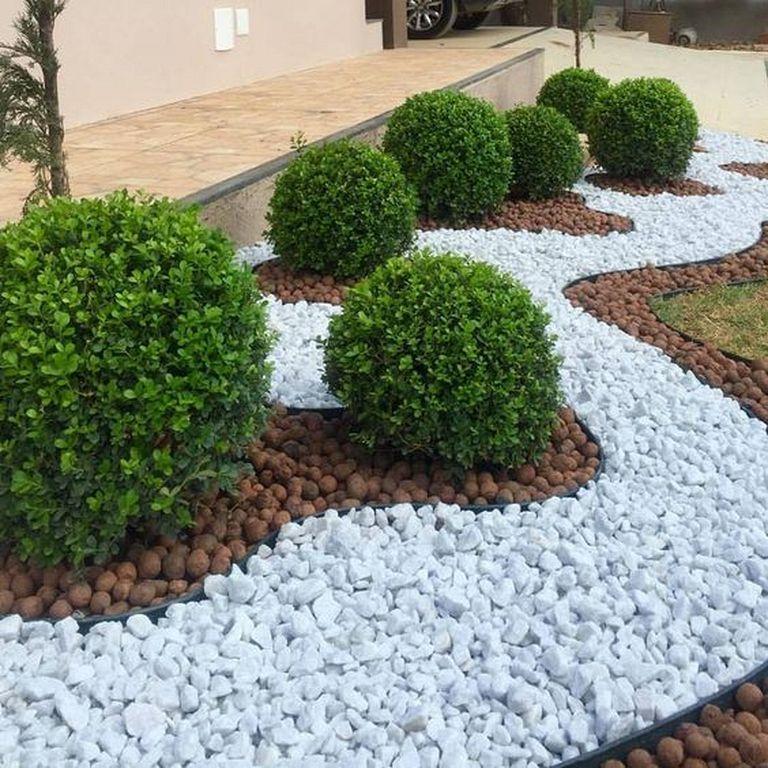 modern white stone landscaping