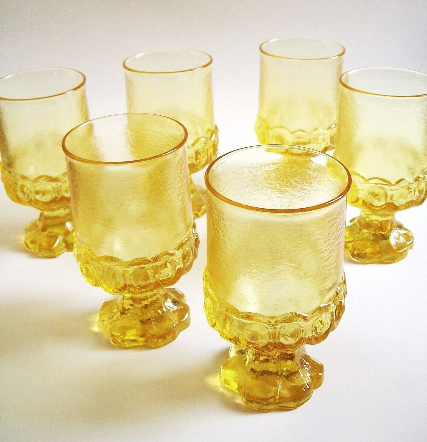 Vintage Cornsilk Yellow Glassware Set of Two Franciscan ...