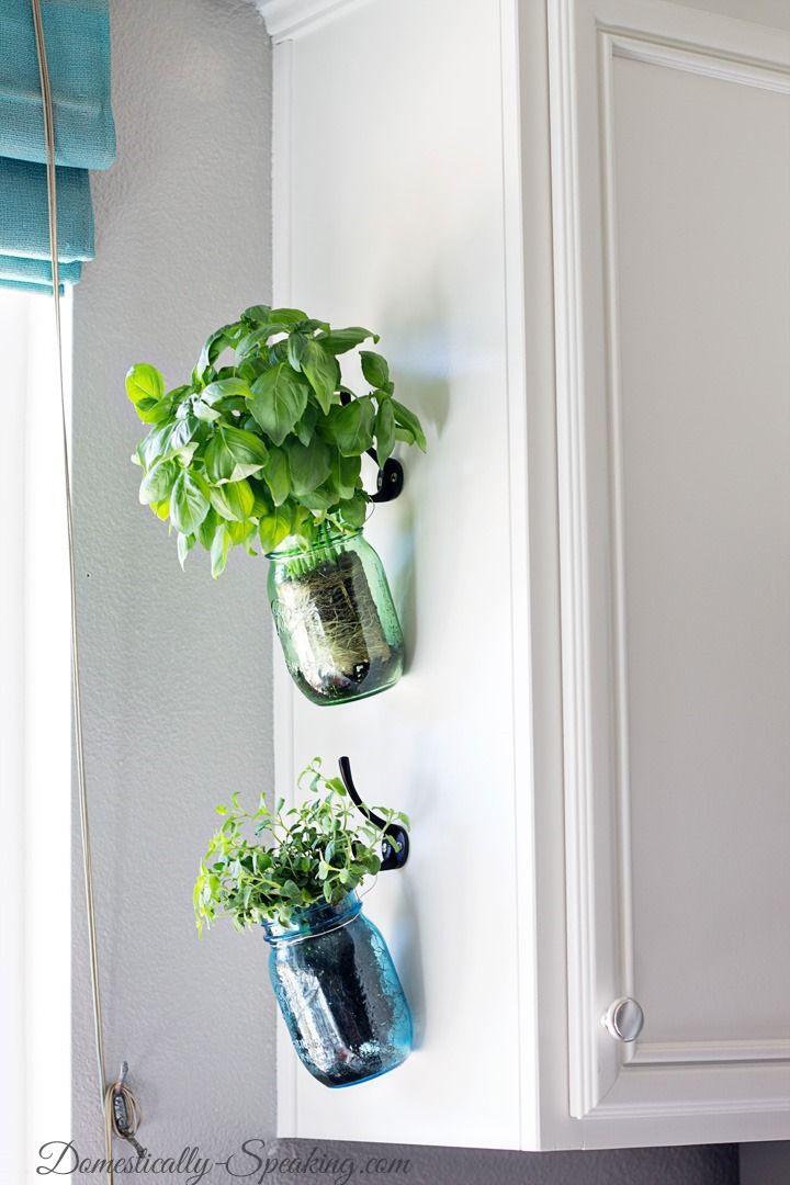 Kitchen Wall Herb Garden Part - 46: Hanging Fresh Herbs In Mason Jars For A Kitchen Herb Garden