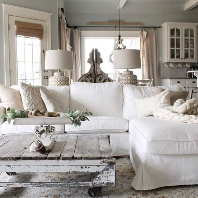70 Beautiful White Shabby Chic Living Room Decoration ...