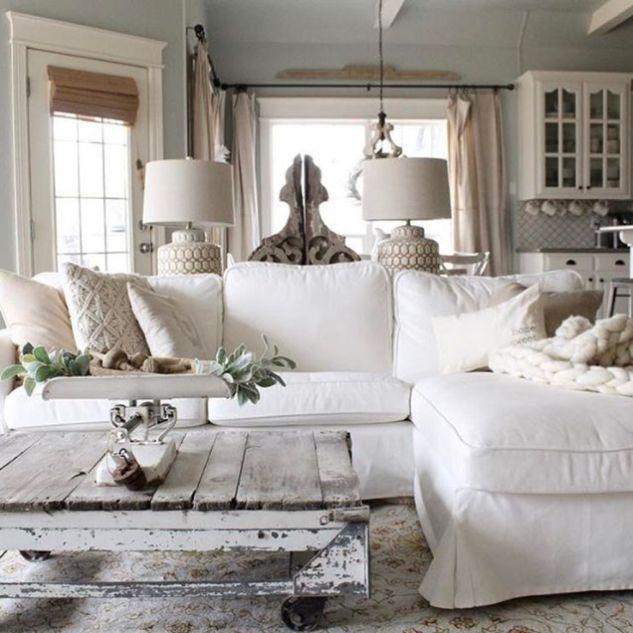 70 Beautiful White Shabby Chic Living Room Decoration ...
