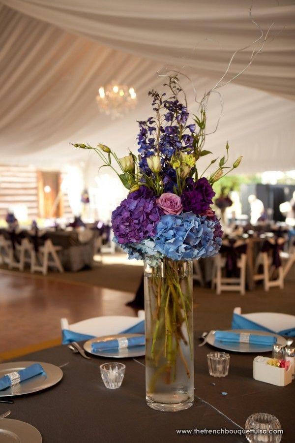 Tall Floral Wedding Centerpiece With Blue And Purple Flowers By Valk Chuah French Bouquet