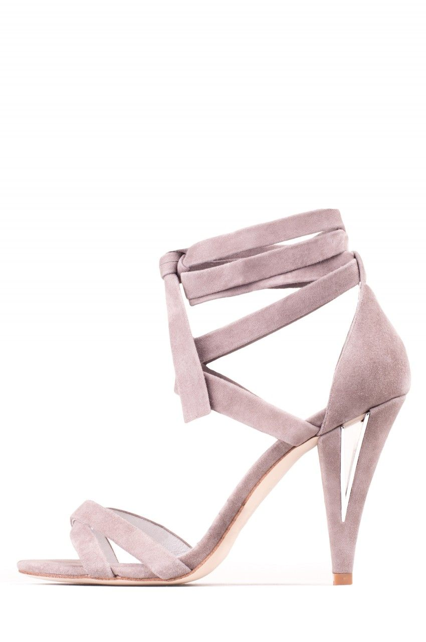 4a46066a4 Jeffrey Campbell  CHALICE  Silver Grey Suede Ankle Wrap-Around Sandal with  cut-out heel