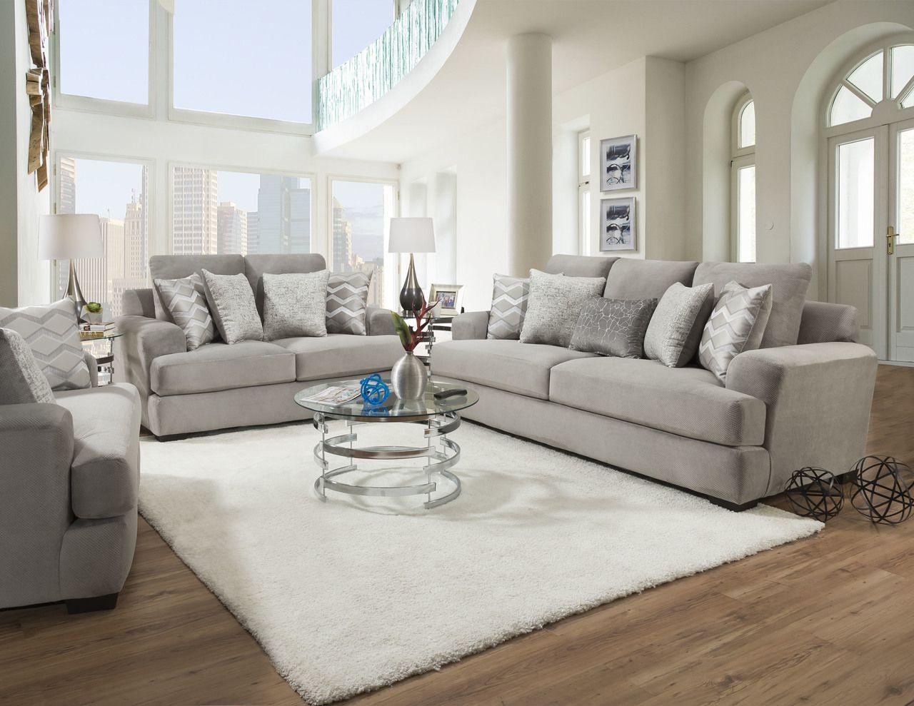 Corinthian Cooper Platinum Sofa Loveseat Set Sofa And Loveseat Set Elegant Living Room Decor Loveseat Living Room