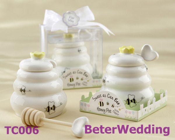 """ lo scopo di ape"" honey pot ceramica con mestolo di legno  BETER-TC006     by Unique Wedding Favors http://it.aliexpress.com/store/513753 #weddingfavors #uniquefavors #uniquegifts #Xmas"
