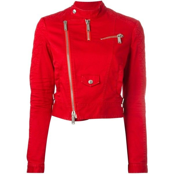 Dsquared2 cropped twill biker jacket ($1,390) ❤ liked on Polyvore featuring outerwear, jackets, red, red motorcycle jacket, biker jacket, military motorcycle jacket, quilted moto jacket and red jacket