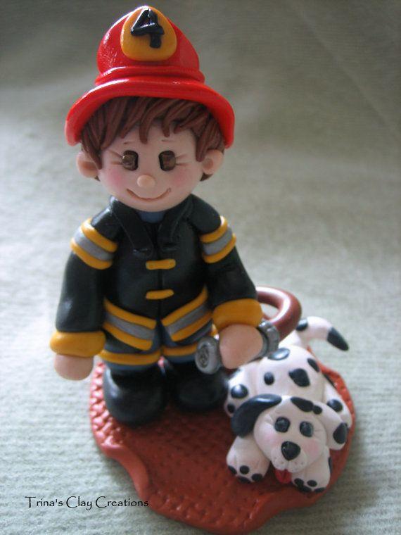 fireman bombero  porcelana fria polymer clay