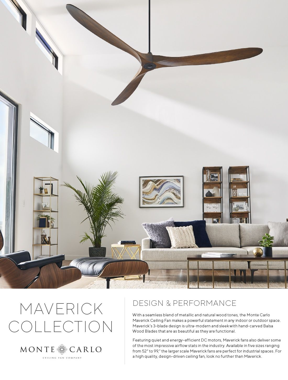 Monte Carlo Maverick 60 In Indoor Outdoor Brushed Steel Ceiling Fan With Koa Blades With Remote Con Living Room Ceiling Fan Living Room Fans Black Ceiling Fan