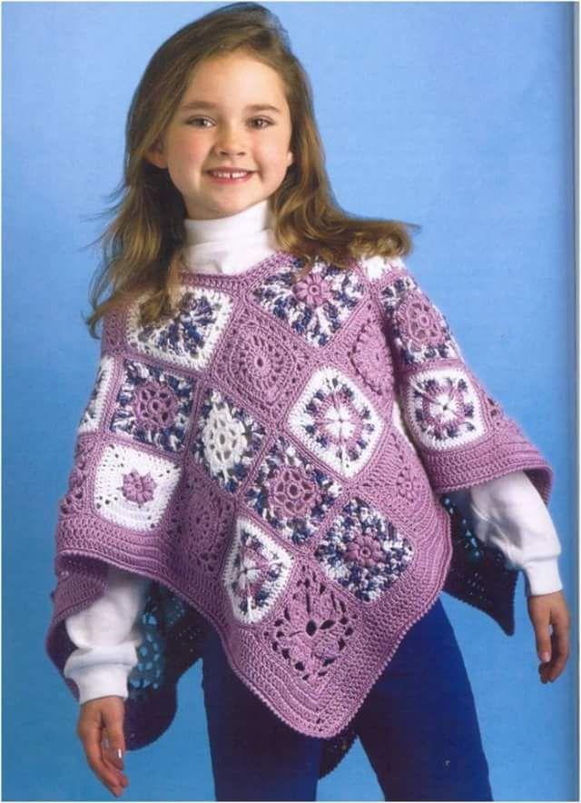 Capas y Ponchos para niñas a Crochet | Ponchos | Pinterest | Poncho ...