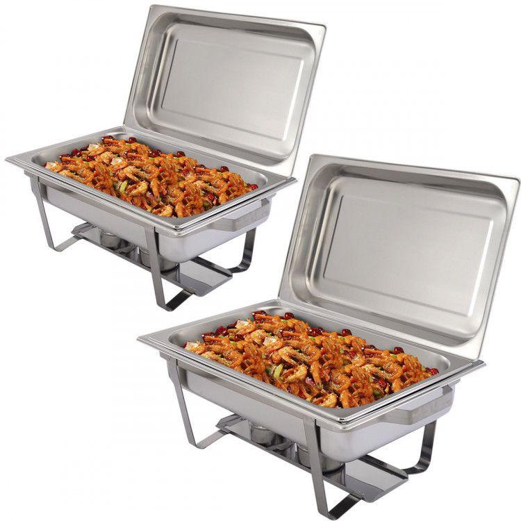 2 Packs Chafing 9 Quart Stainlessl Rectangular Chafer Buffet