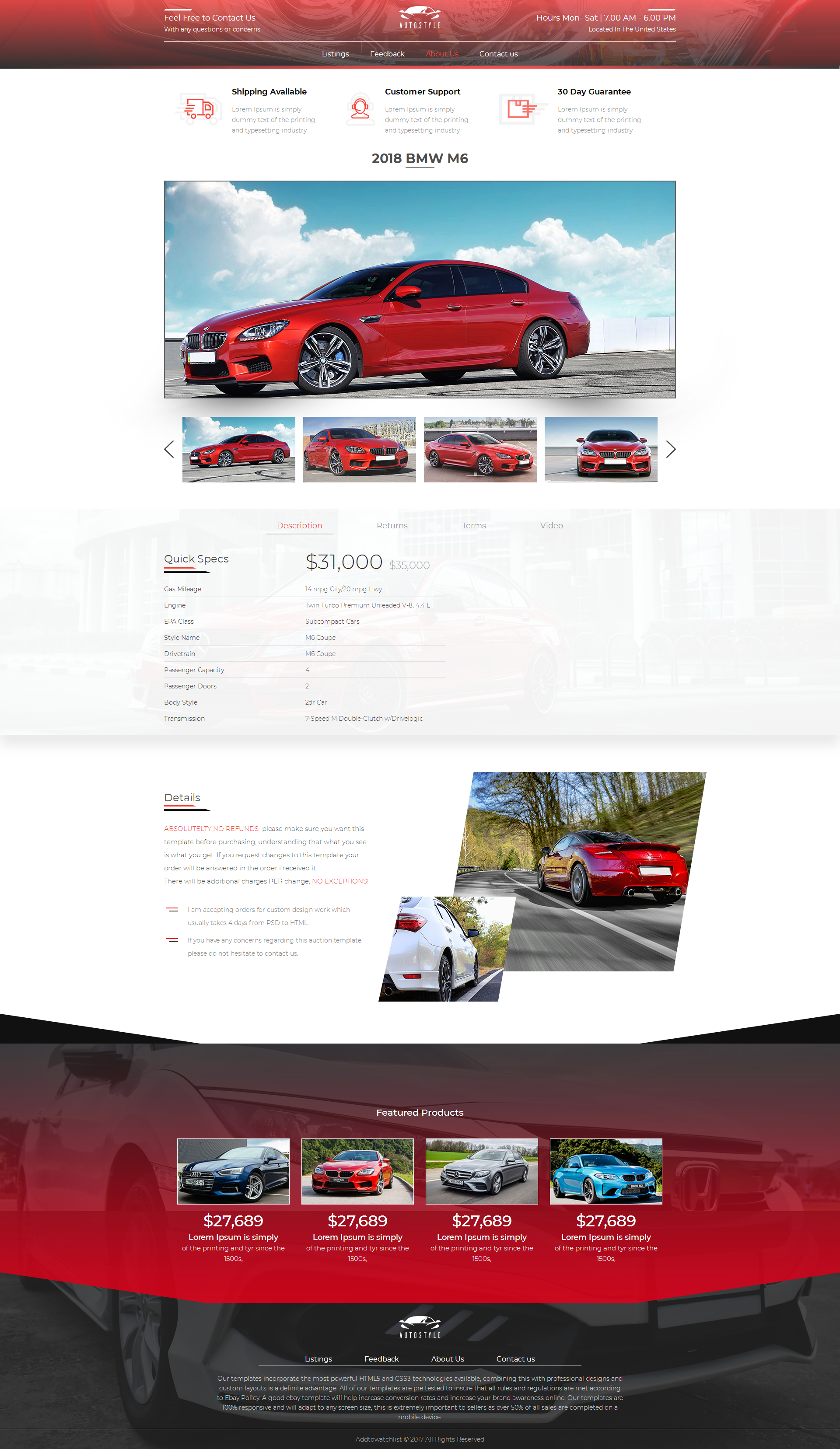Auction Website Template 2018 Compliant Mobile Responsive Ebay Auction Listing Template Car