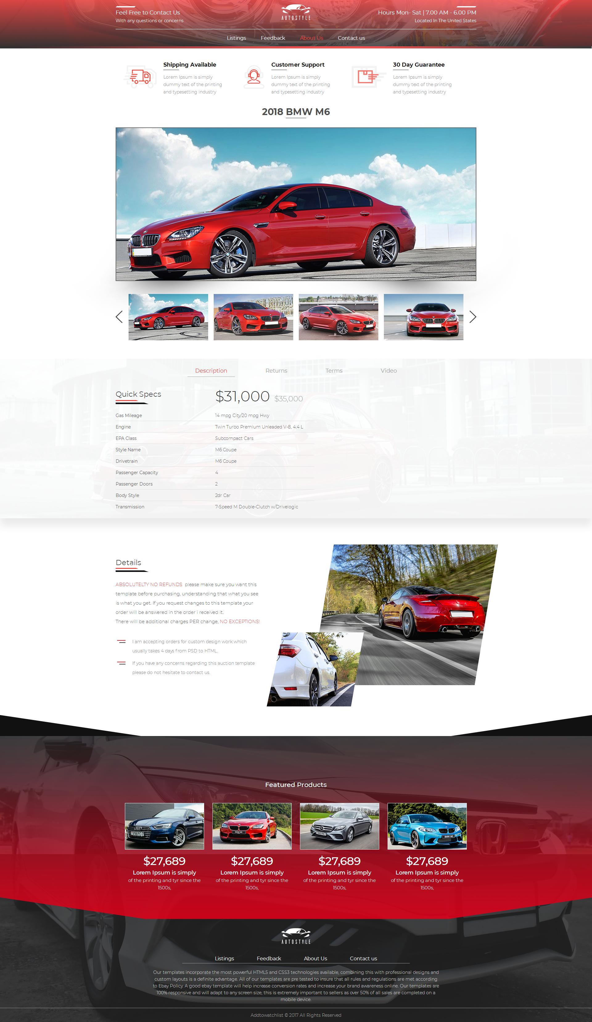 2020 Compliant Mobile Responsive Ebay Auction Listing Template Car Dealer Sale Ebay Templates Mobile Responsive Ebay