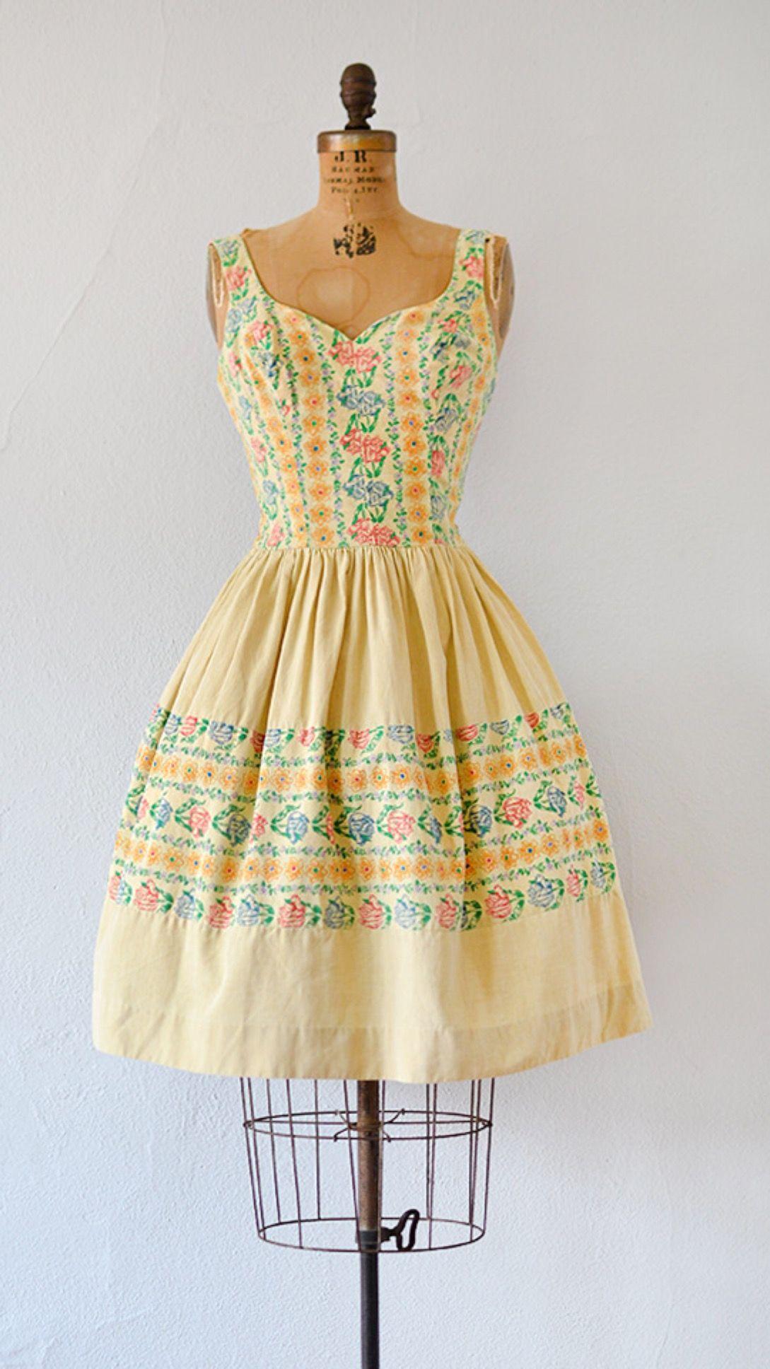 EPPELHEIM BLUME DRESS vintage 1950s yellow floral print summer dress | #1950s #50svintage
