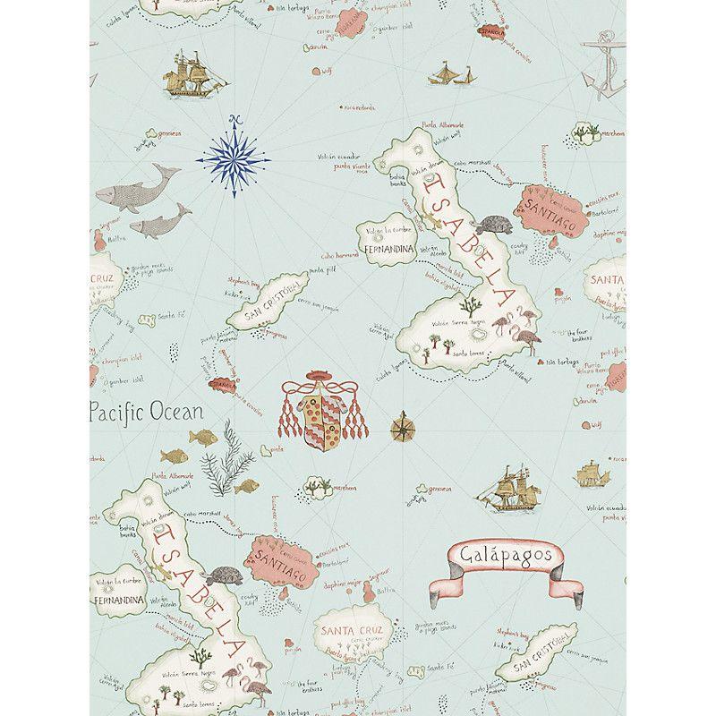 Buy Sanderson Galapagos Wallpaper John Lewis Wallpaper Whimsical Map Pattern Wallpaper