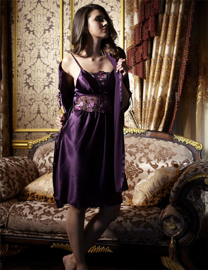 Xifenni-Robe-Sets-Female-Satin-Silk-Sleepwear-Women-Two-Piece-Sleeping-Dress -Emb 484e76f8b