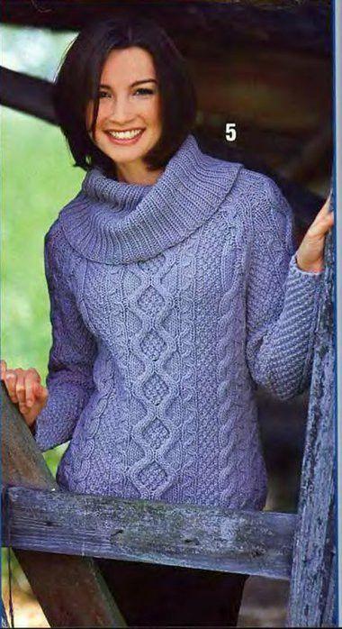 Пуловер с большим воротником спицами. Пуловер с косами спицами