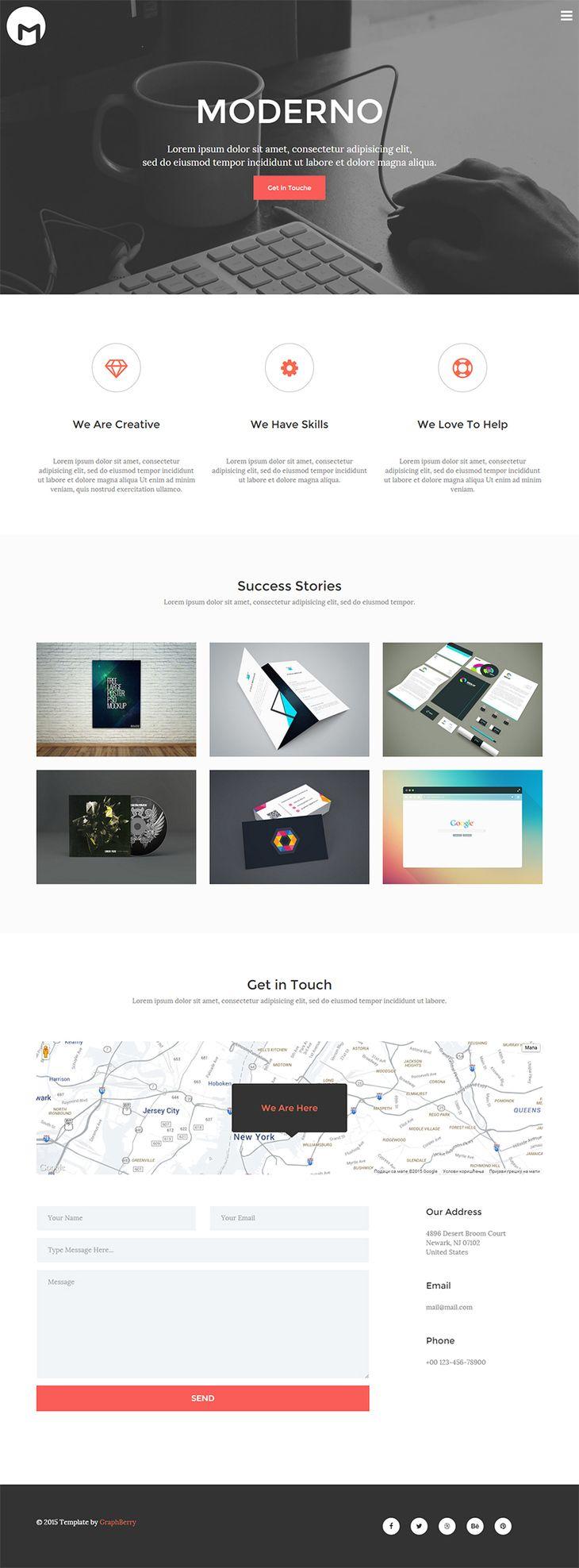 Moderno Free Html5 Responsive Template Fribly Portfolio Web Design Simple Web Design Web Design