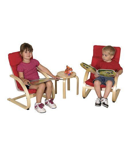 Red Kid Chair Set Kids Seating Kids Furniture Red Cushions