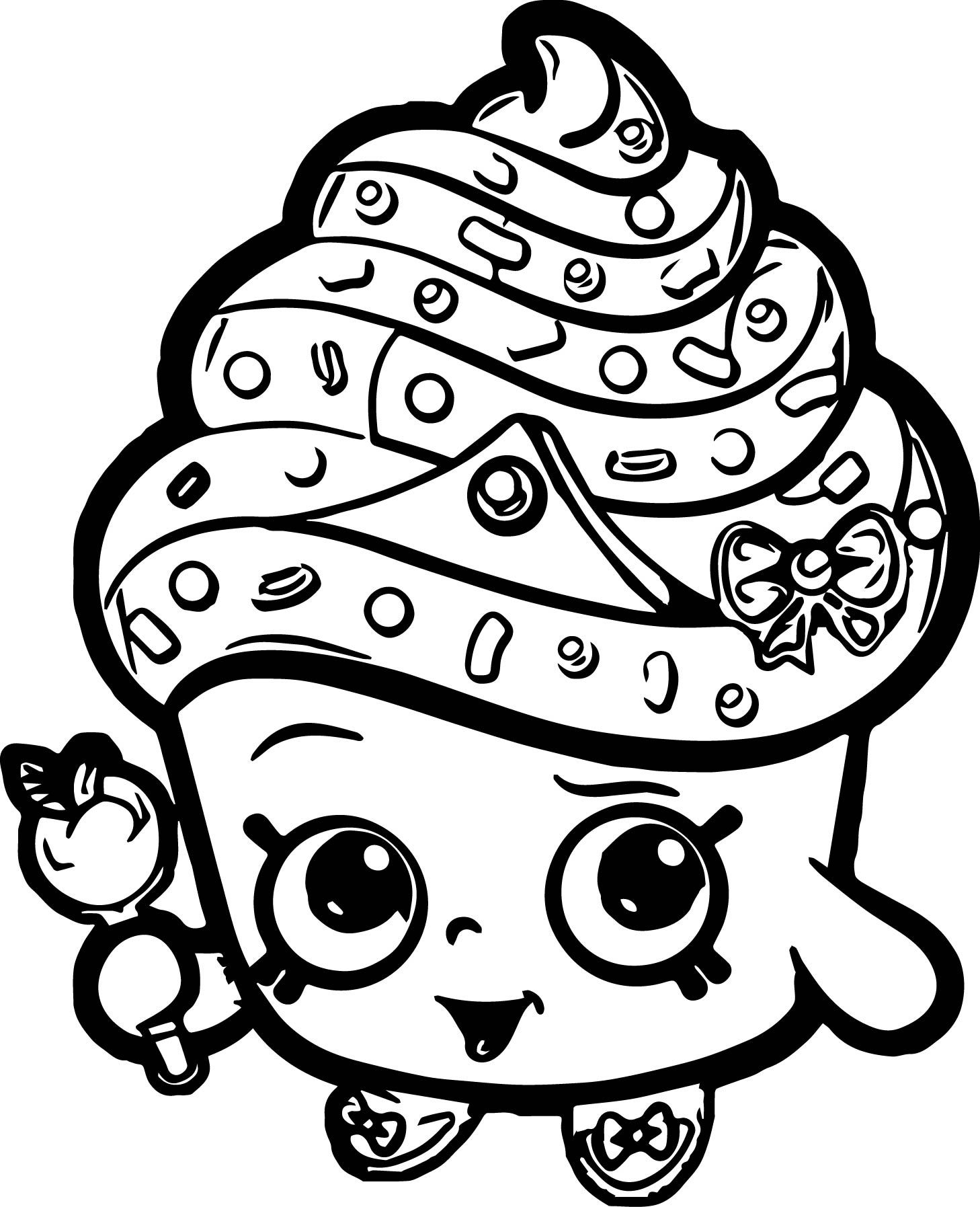 Cool cupcake queen shopkins coloring page