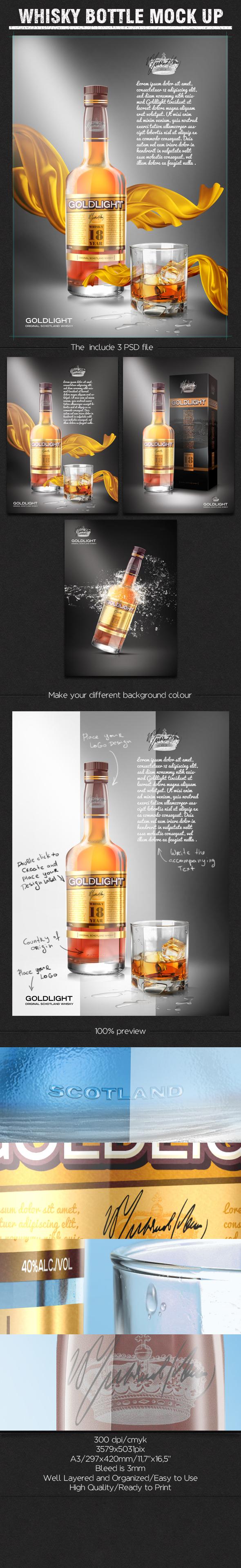 Whisky Bottle Mock Up Free On Behance Whisky Bottle Bottle Mockup Packaging Mockup