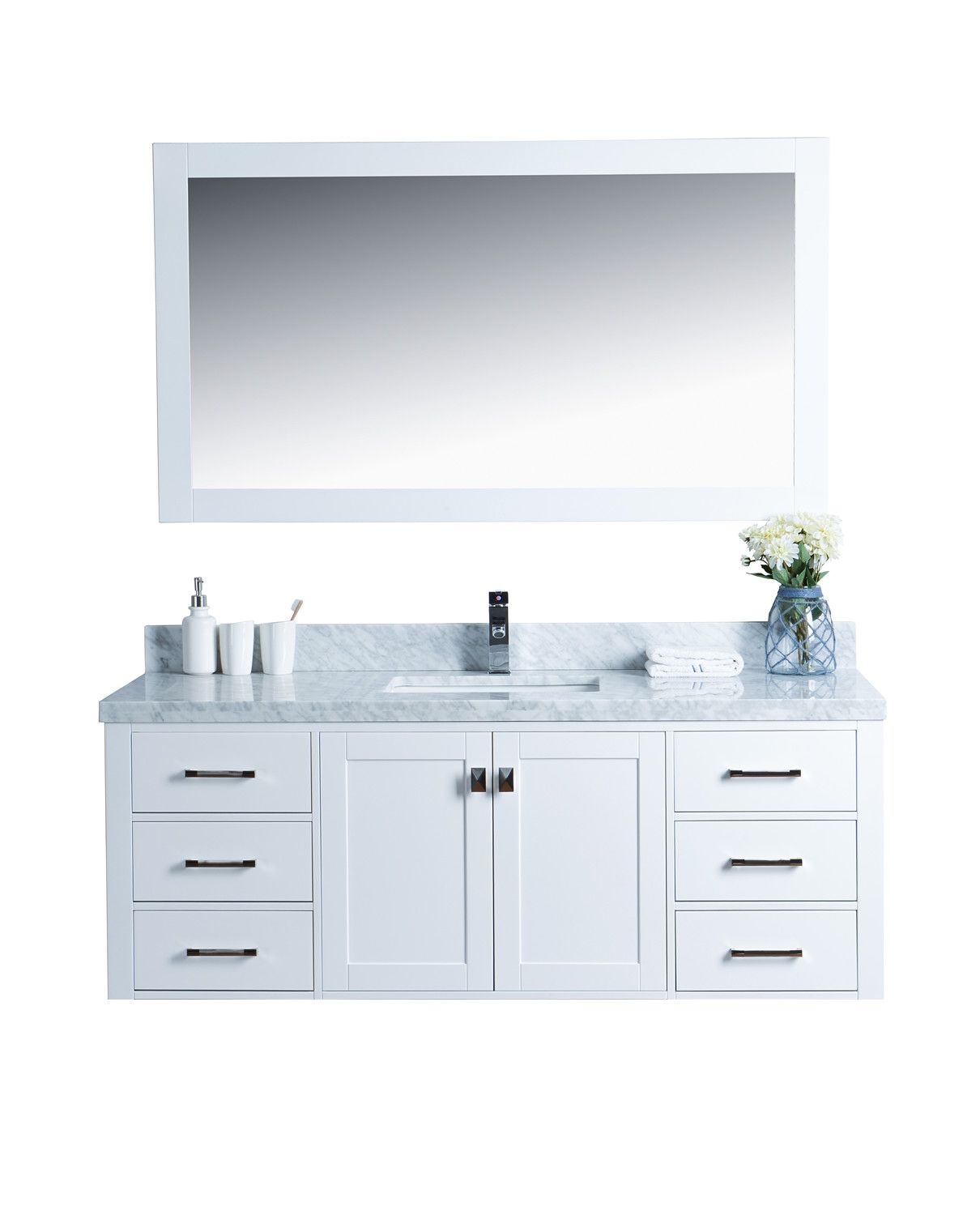 Pic On Abigail Naos White Shaker Style Wall Mount Vanity
