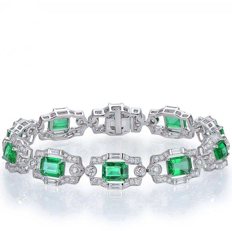 18k or Jaune Argent Sterling émeraude Cut Rainbow Sapphire Tennis Bracelet