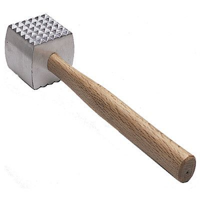 Update International Aluminum Meat Tenderizer with Wood Handle
