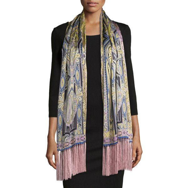 Etro Silk Paisley Fringe Scarf ($555) ❤ liked on Polyvore featuring accessories, scarves, fringe shawl, pure silk scarves, silk shawl, pink silk scarves and fringe scarves