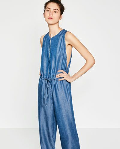 Image 2 of LONG DENIM JUMPSUIT from Zara