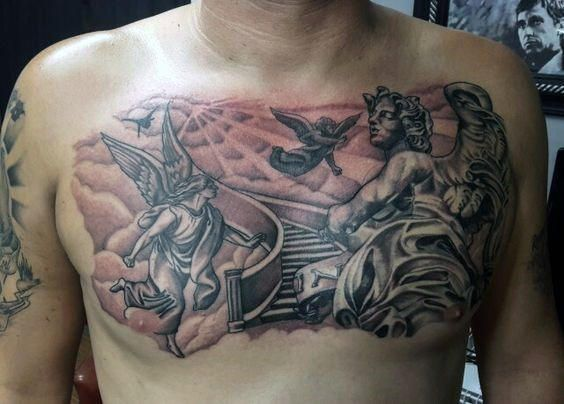 Angels In Heaven Mens Upper Chest Tattoo ...