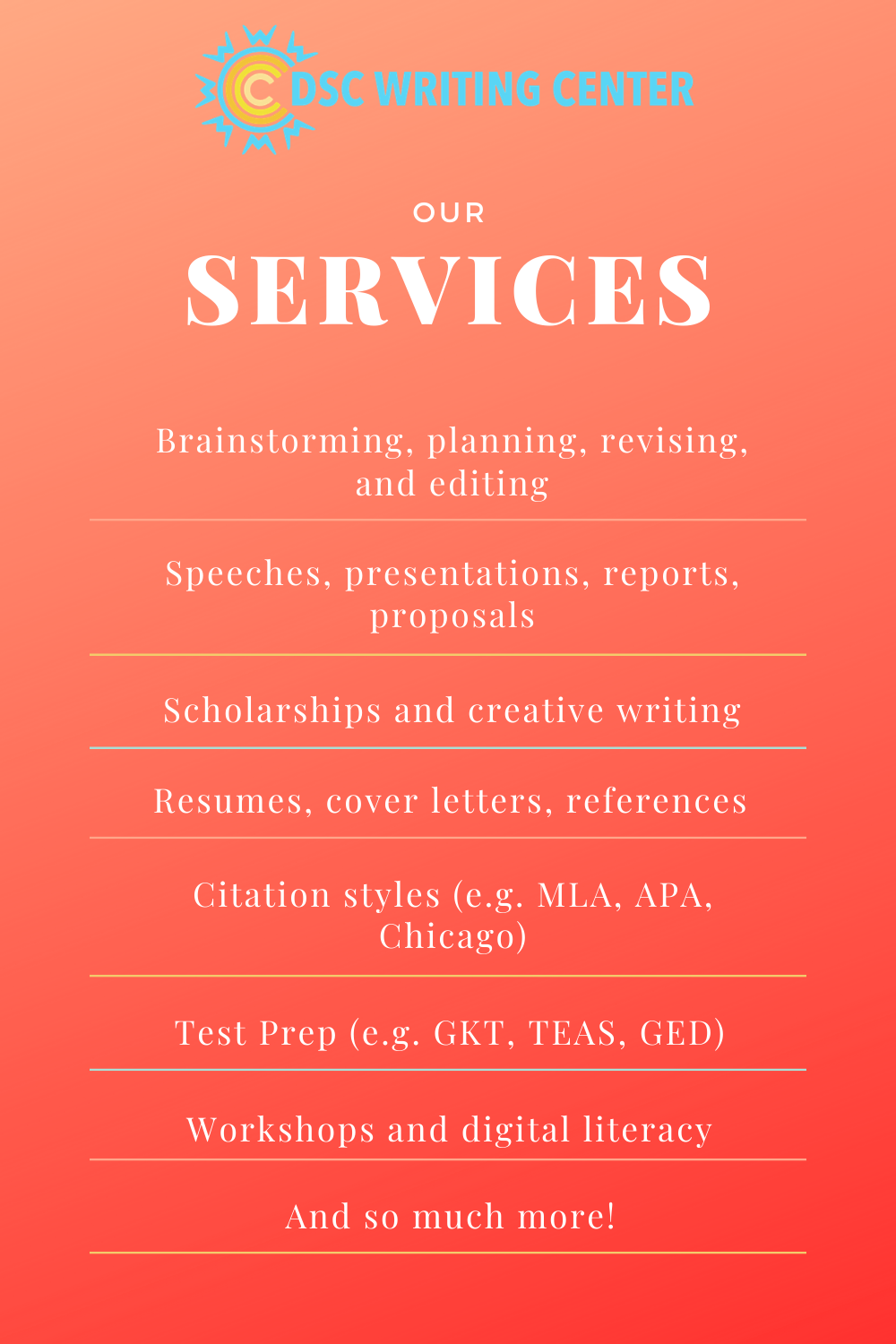 Our Services in 2020 Writing center, Digital literacy