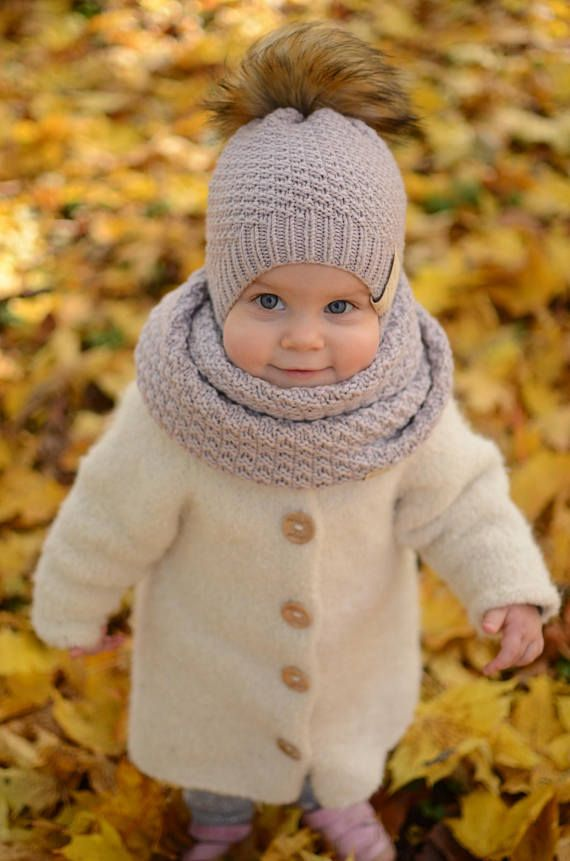 Photo of Knitted Toddler Girl Hat, Knit Toddler Girl Beanie, Merino Wool Girls Hat, Girls Winter Beanie, Baby Girl Pom Pom Hat, Kids Knit Winter Hat