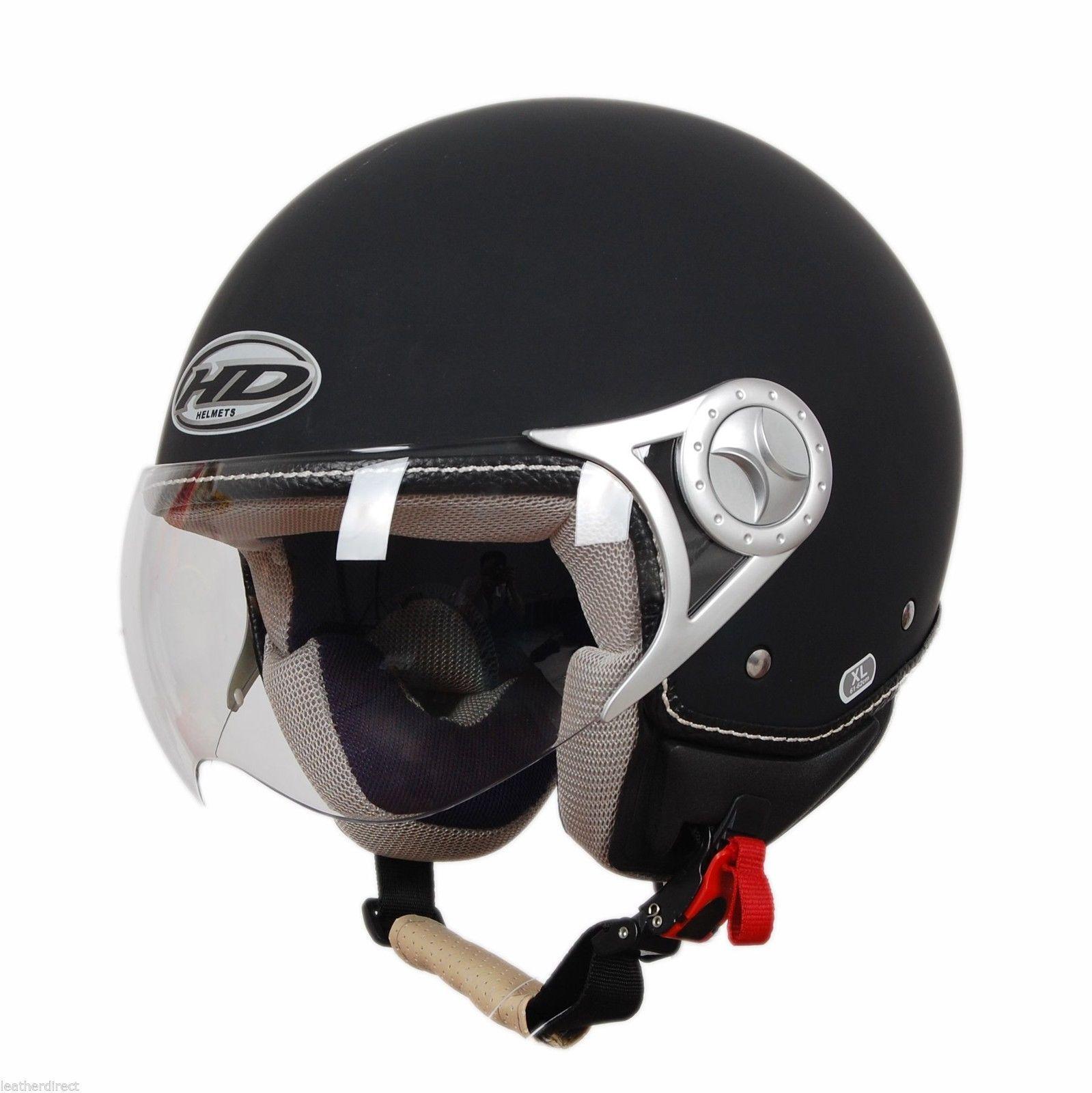 NEW OPEN FACE BLACK SCOOTER MOTORBIKE MOTORCYCLE HELMET