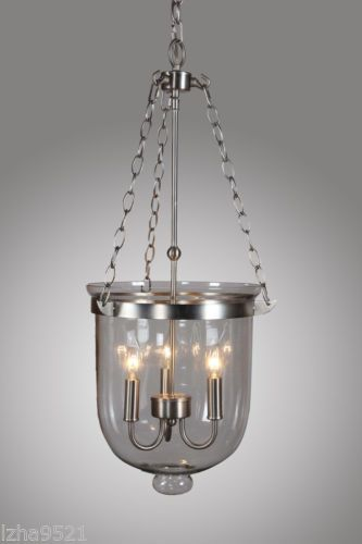 Nickel Finish Bell Shaped Clear Glass Jar Shade Chandelier Pendant