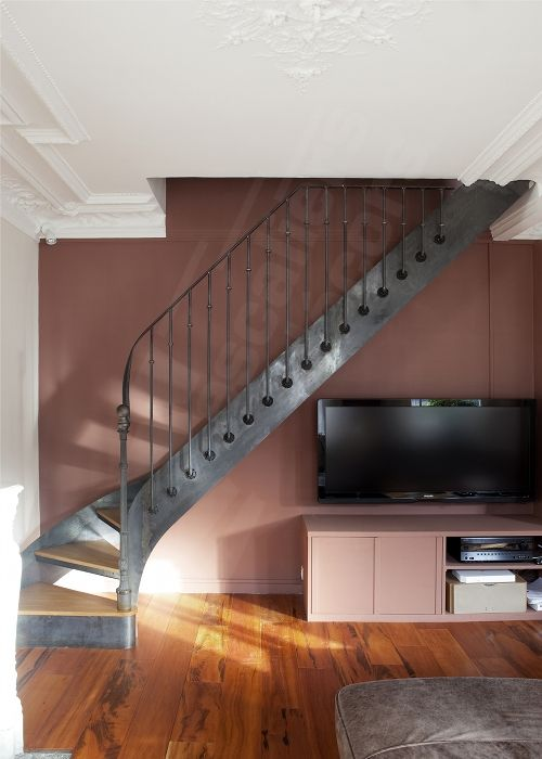 escalier bistrot quart tournant balanc acier et bois. Black Bedroom Furniture Sets. Home Design Ideas