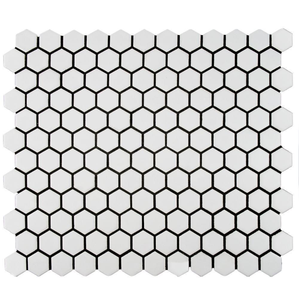 Merola Tile Metro Hex Matte White 10 1 4 In X 11 7 8 In X 5 Mm Porcelain Mosaic Tile 8 65 Sq Ft Case Fdxmhmw The Home Depot Porcelain Mosaic Tile Porcelain Mosaic Mosaic Flooring
